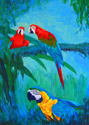 Blue And Gold Macaw Painting - Macaw Trio by Margaret Saheed