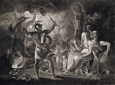 Scottish Drawing - Macbeth, The Three Witches And Hecate by John & Josiah Boydell