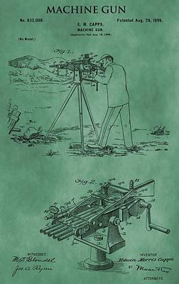 Machine Gun Patent Green Print by Dan Sproul
