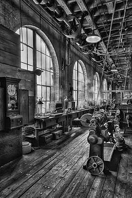 Machine Shop Bw Print by Susan Candelario