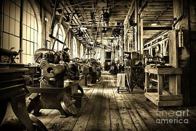 Machine Shop In Sepia Print by Paul Ward