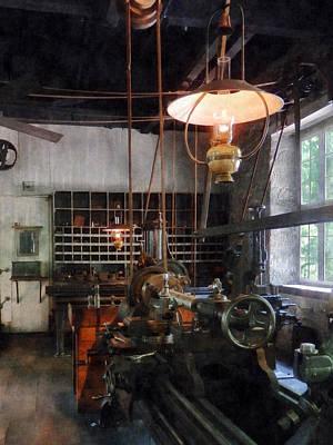 Machine Shop With Lantern Print by Susan Savad