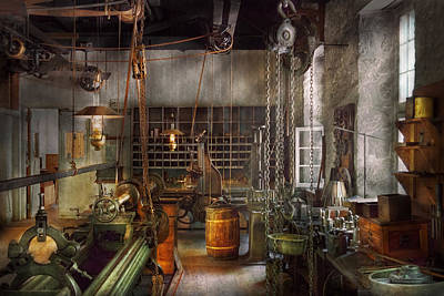 Room Photograph - Machinist - Lathes - Machinists Paradise by Mike Savad