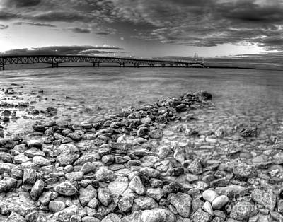 Mackinac Bridge In Black And White Print by Twenty Two North Photography