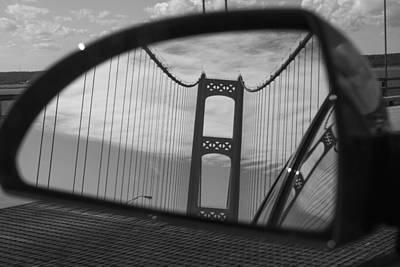 Mackinac Bridge In The Mirror Print by John McGraw