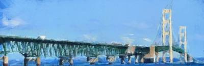 Lake Michigan Mixed Media - Mackinac Bridge Panorama Painting by Dan Sproul