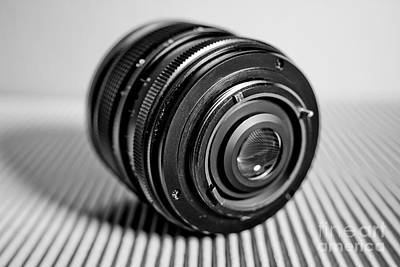 Vintage Camera Photograph - Macro Lens Black And White 4 by Pittsburgh Photo Company