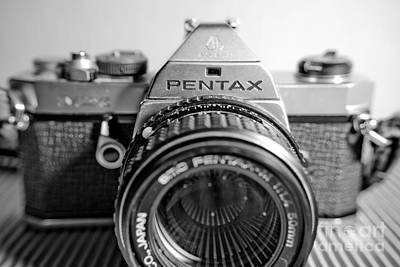 Vintage Camera Photograph - Macro Pentax Mx Dynamic Bw 5 by Pittsburgh Photo Company