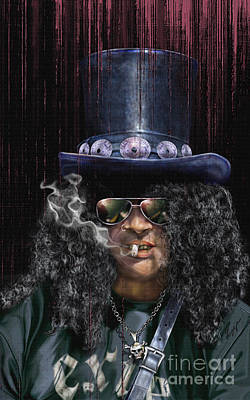 Musicians Painting - Mad As A Hatter - Slash by Reggie Duffie