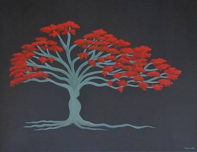 Flamboyan Tree Painting - Madam Flamboyant by Maureen Schmidt