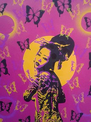 Graffiti Painting - Madame Butterfly by Leon Keay