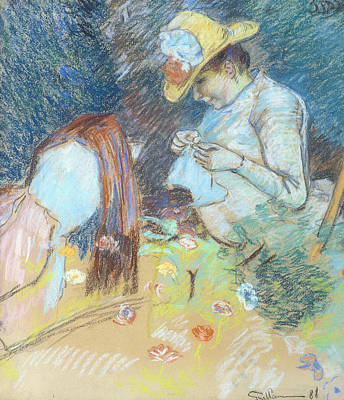 Embroidered Painting - Madame Guillaumin Sewing by Jean Baptiste Armand Guillaumin