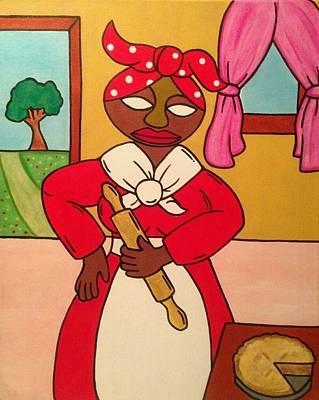 African American. Folk Art Painting - Madame In Red by Eddie Pagan