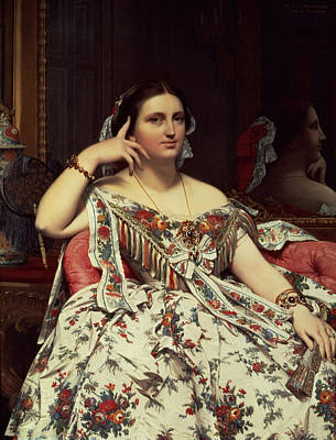 Madame Moitessier, 1856 Oil On Canvas Print by Jean Auguste Dominique Ingres