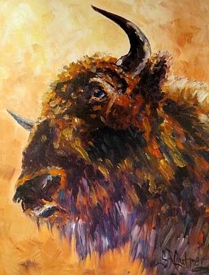 Buffalo Bison Wildlife Animal Made In America  Original by Sandra Cutrer