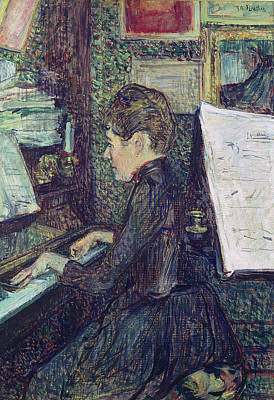 Woman Playing Piano Painting - Mademoiselle Dihau At The Piano by Henri de Toulouse-Lautrec