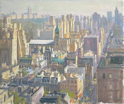 Rooftop Photograph - Madison Avenue, 1997 Oil On Canvas by Julian Barrow