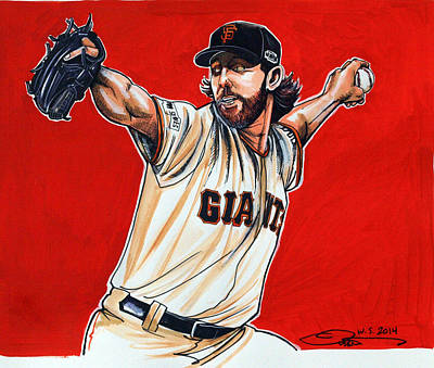 Sports Drawing - Madison Bumgarner World Series Mvp by Dave Olsen