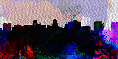 Panoramic Painting - Madison City Skyline by Naxart Studio