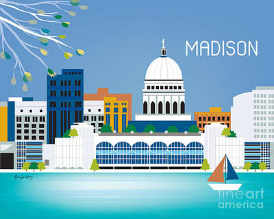 Wisconsin Digital Art - Madison by Karen Young