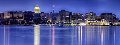 Madison Skyline Reflection Print by Sebastian Musial