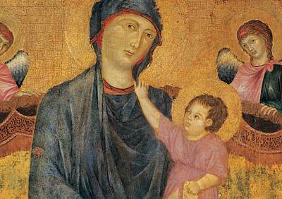 Madonna And Child Enthroned With Two Angels Print by Cimabue