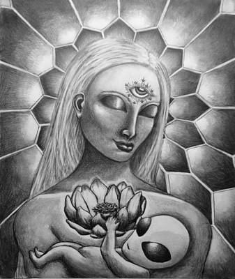 Terrestrial Drawing - Madonna And Child by Tai Hicks