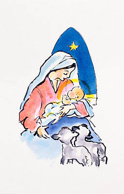 Christianity Drawing - Madonna And Child With Lambs, 1996  by Diane Matthes