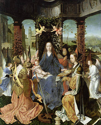 Madonna And Child With Mary Magdalene And St. Catherine Oil On Panel Print by Jan Gossaert