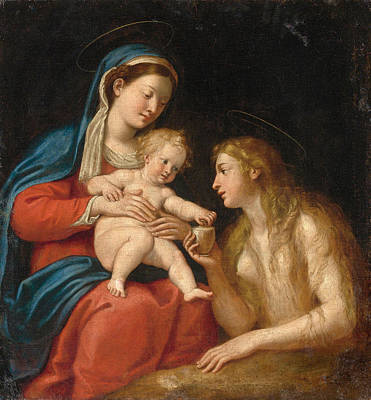 Mary Magdalene Painting - Madonna And Child With Mary Magdalene by Francesco Albani