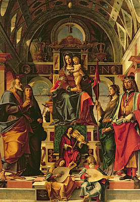 Jesus Art Painting - Madonna And Child With Saints by Bartolomeo Montagna