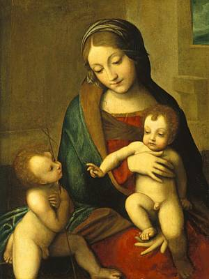 New Testament Painting - Madonna And Child With The Infant Saint John by Antonio Allegri Correggio