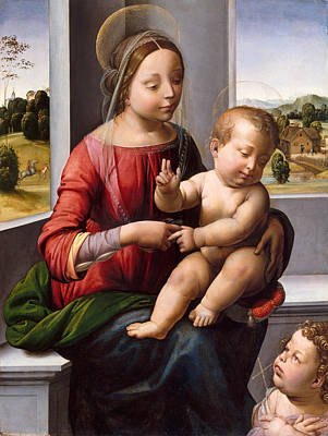 Fra Bartolomeo Painting - Madonna And Child With The Young Saint John The Baptist by Fra Bartolomeo