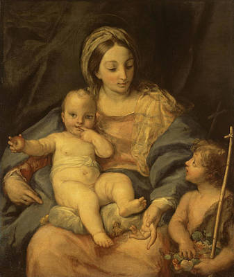 Carlo Maratta Painting - Madonna And The Child With St John Baptist by Carlo Maratta