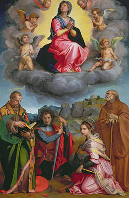 St. George Painting - Madonna In Glory With Four Saints by Andrea del Sarto