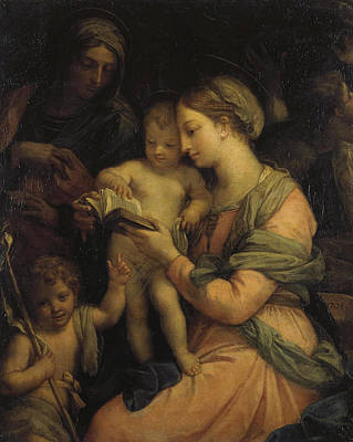 Carlo Maratta Painting - Madonna Teaching The Infant Christ Reading by Carlo Maratta