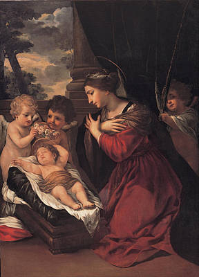Pietro Da Cortona Painting - Madonna With The Child And Angels by Pietro da Cortona