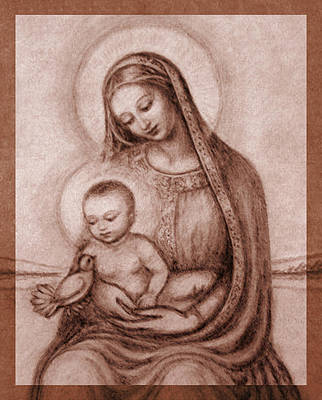 Jesus Pastel - Madonna With The Dove Detail by Ananda Vdovic