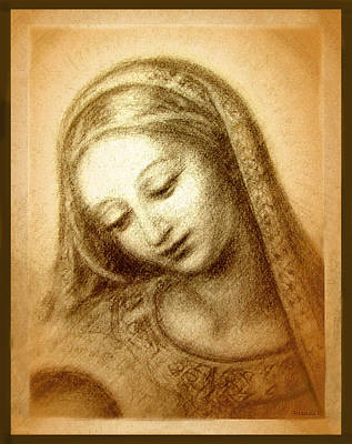 Smiling Jesus Mixed Media - Madonna With The Dove Face by Ananda Vdovic