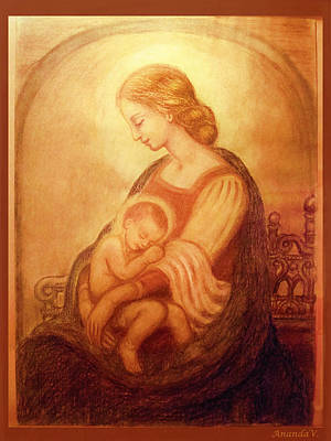 Orthodox Icon Mixed Media - Madonna With The Sleeping Child by Ananda Vdovic