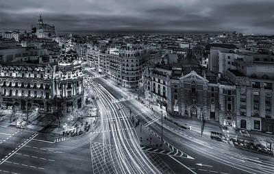 Madrid City Lights Print by Javier De La