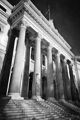 Market Photograph - Madrid Stock Exchange Bw by Joan Carroll