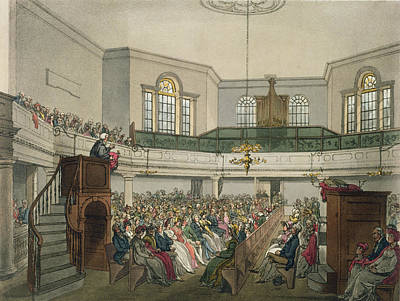 Religion Drawing - Magdalen Chapel by Pugin And Rowlandson