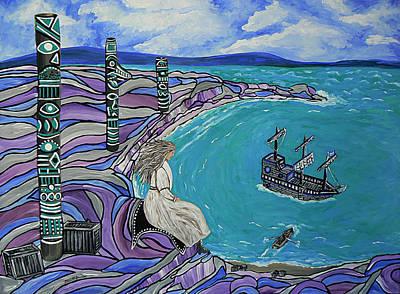Native American Symbols Painting - Magdalen Island Explorers by Barbara St Jean