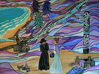 Native American Symbols Painting - Magdalen Island Settlers by Barbara St Jean