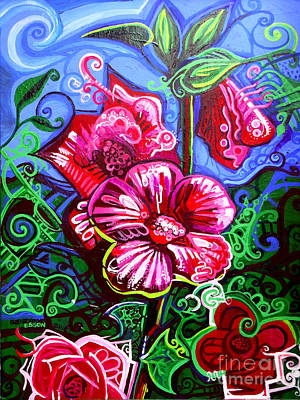 Masonite Painting - Magenta Fleur Symphonic Zoo I by Genevieve Esson
