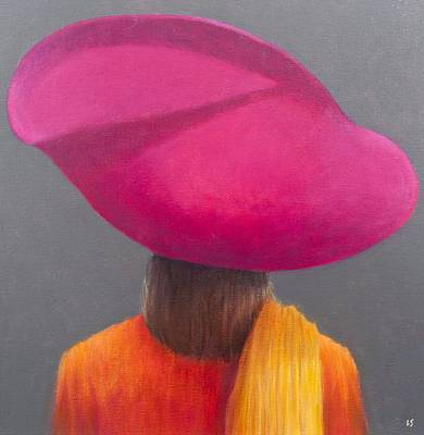 Magenta Hat, Saffron Jacket, 2014 Oil On Canvas Print by Lincoln Seligman
