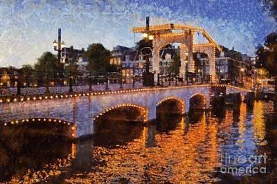 Magere Brug Bridge In Amsterdam Print by George Atsametakis