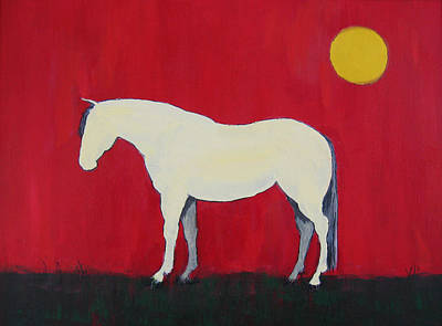 Maggie The Horse In The Moonlight Print by Carol Jo Smidt
