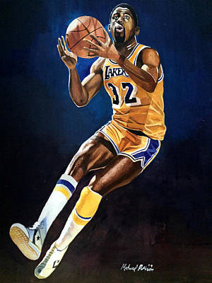 Larry Bird Mixed Media - Magic Johnson - Lakers by Michael  Pattison